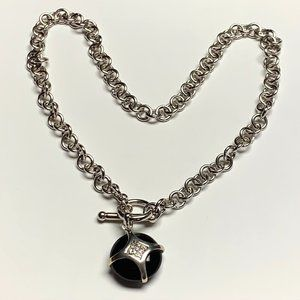 925 Sterling Adorned Onyx Pendant Necklace